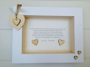 Shabby Personalised Chic Box Frame Gift Christening Godmother Godparent Present